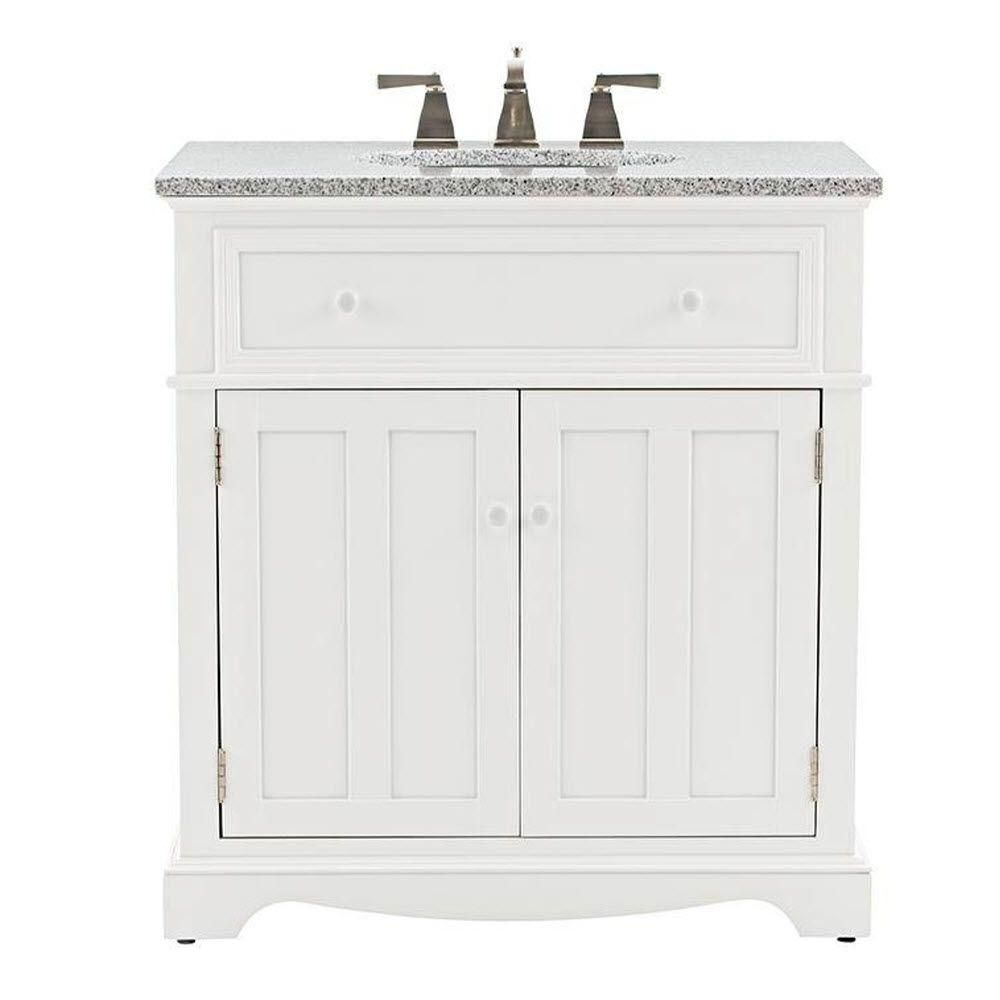 Home Decorators Collection Fremont 32 In W X 22 In D Bath Vanity In White With Granite Vanity Top In Grey 2943800410 The Home Depot Granite Vanity Tops Home Depot Bathroom Vanity Vanity [ 1000 x 1000 Pixel ]