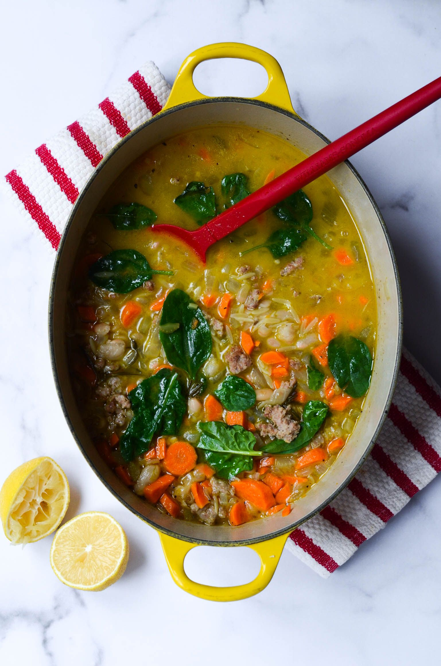 Orzo Soup with Sausage and Spinach