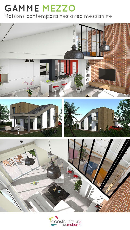 maison moderne avec tage en mezzanine grande maison familiale contemporaine la maison vertige est compose de 4 chambres 2 sdb dune grande pice de - Plan De Maison Avec Mezzanine