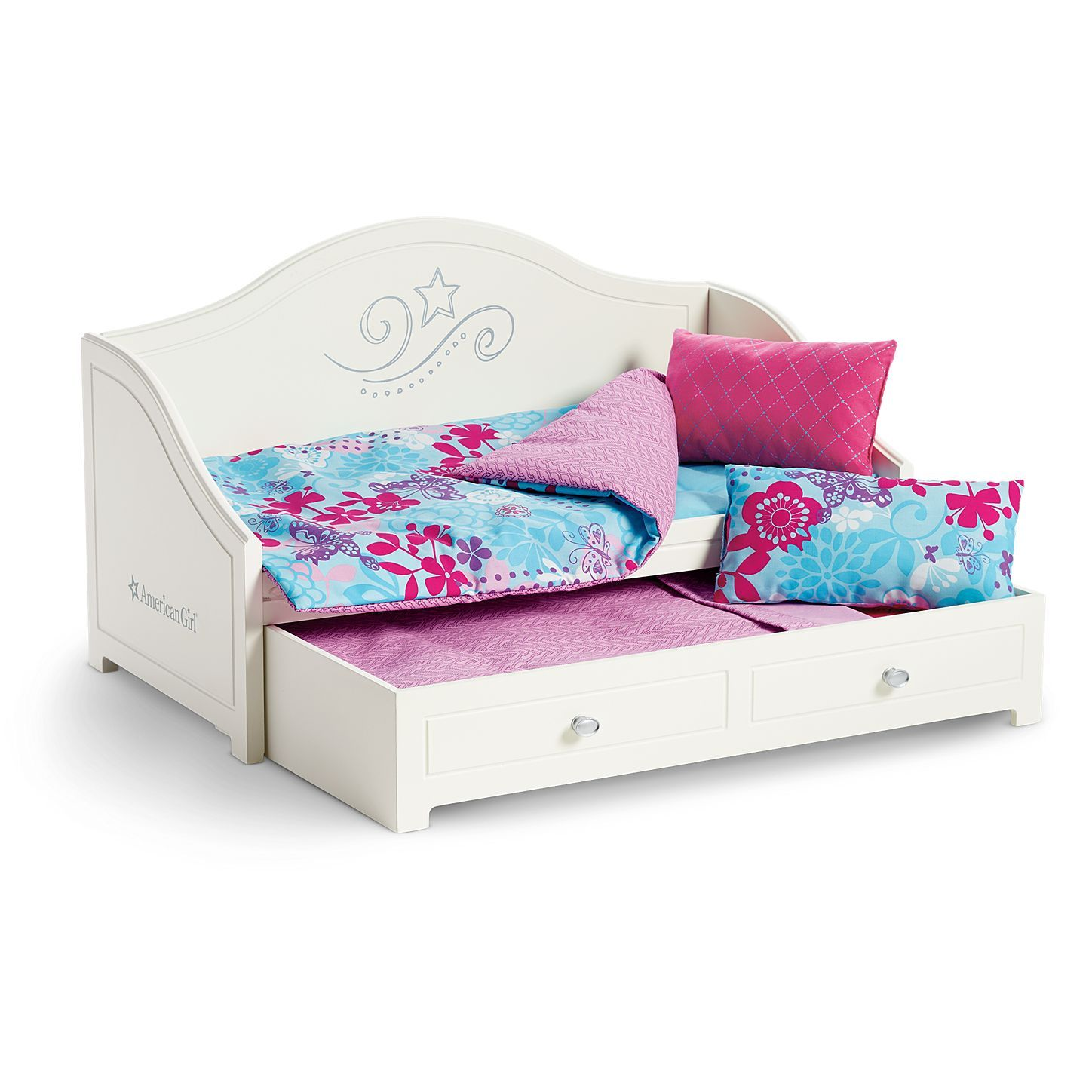 18-inch Doll FurnitureSTACKABLE White Trundle Bed with BeddingFits