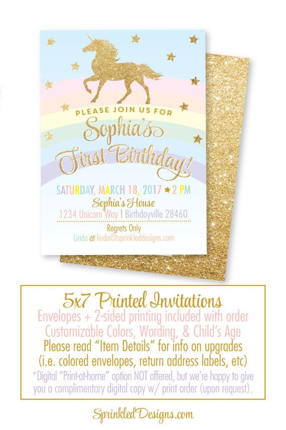 Unicorn Invitation, Unicorn Birthday Invitation, Unicorn Party ...