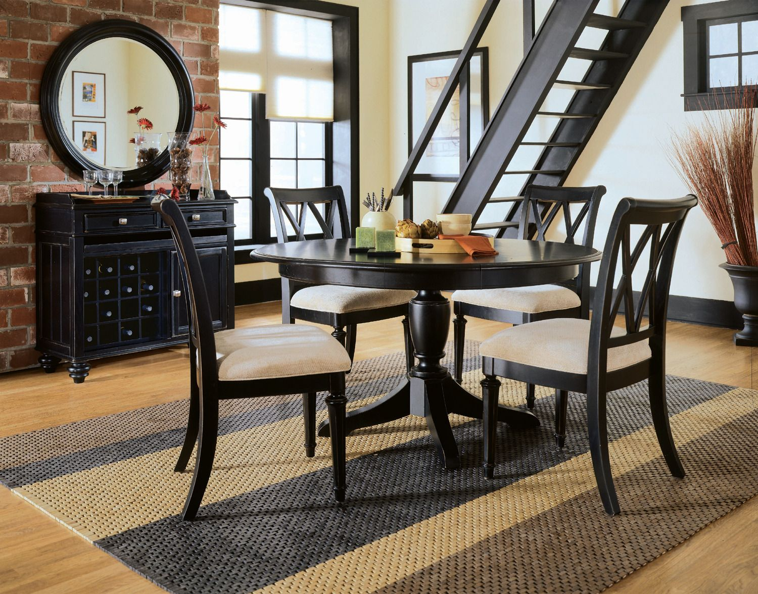 Camden Black RoundOval Dining Table Set by