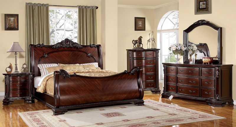 bellefonte baroque style brown cherry wood bedroom set with sleigh rh in pinterest com