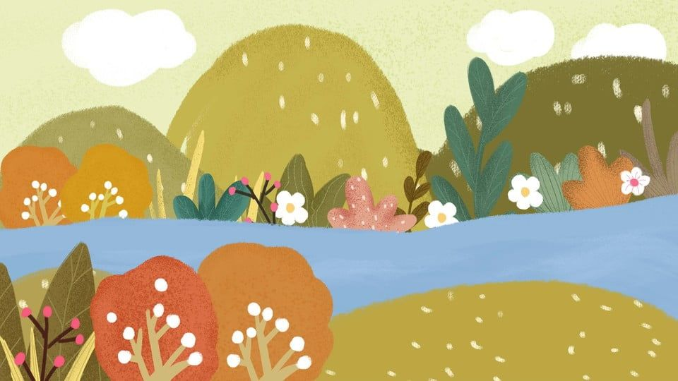 حديقة الكرتون عناصر الجمال الخلفية Cartoon Park Flower Background Images Beauty Background