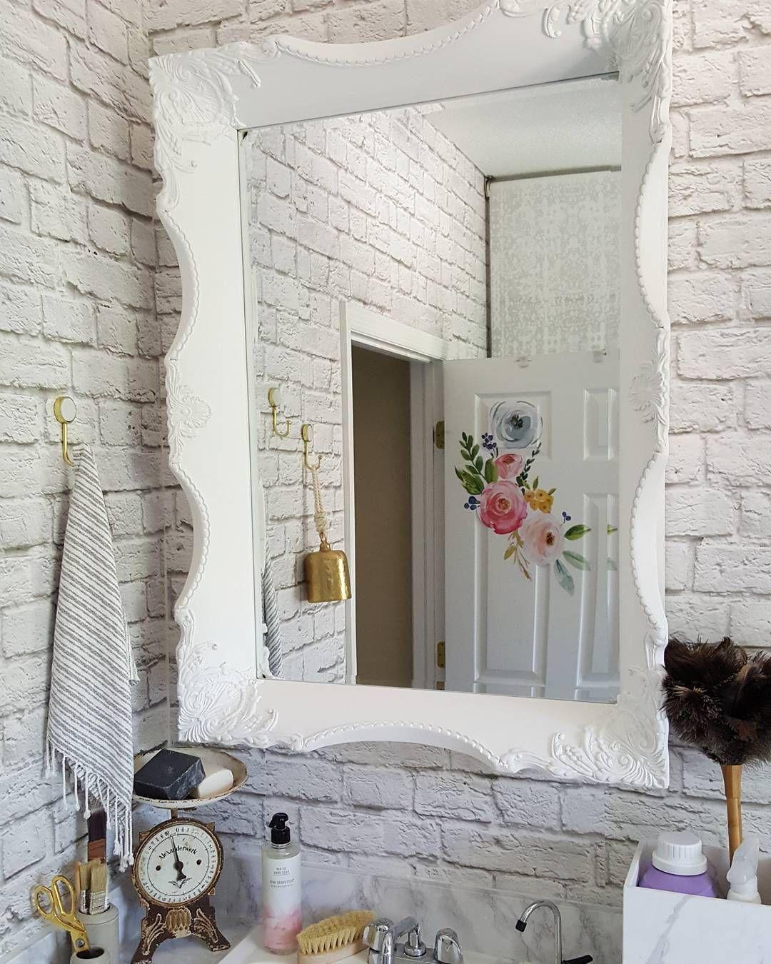 White brick marble countertop wood wall DIY