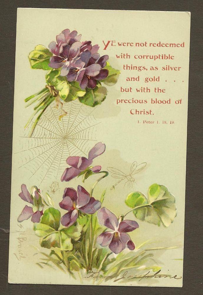 Artist Signed S N Brasch Purple Violets Vintage Easter Postcard 1907 UDB Walter Wheeler with Bible Quote. $5.00, via Etsy.