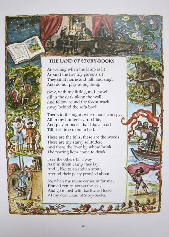 Print Of Poem Quot The Land Of Story Books Quot By Robert Louis