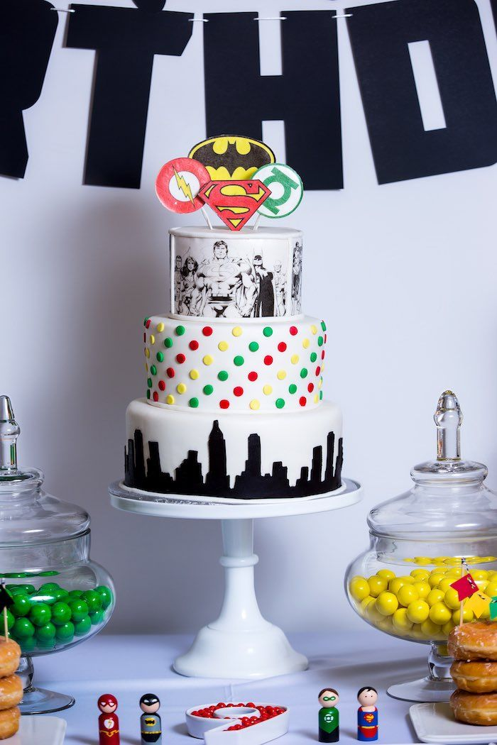 Cake from a Modern Justice League Birthday Party via Karas Party