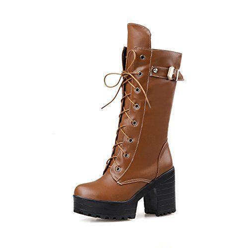 746f5a4da1460 Lucksender Womens Lace-up Platform Combat High Chunky Heel Martin ...