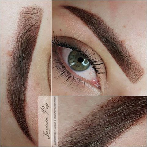 S brows eyebrows before after hairstroke brows for Powder eyebrow tattoo