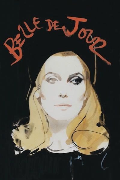 "Catherine Deneuve ""Belle de Jour"" - Criterion cover art by fashion illustrator David Downton"