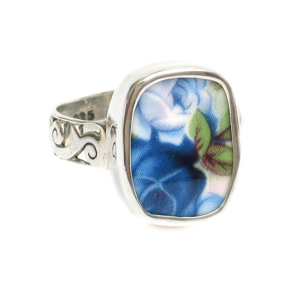 Size 11 Broken China Jewelry Moonlight Roses Light Dark Blue Pair ...