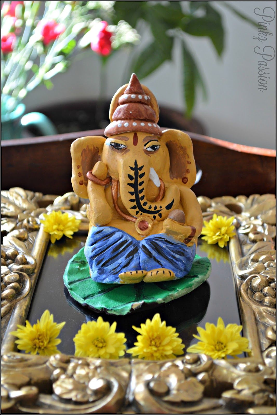 Eco friendly Ganesha Ganpati Bappa clay Ganesha