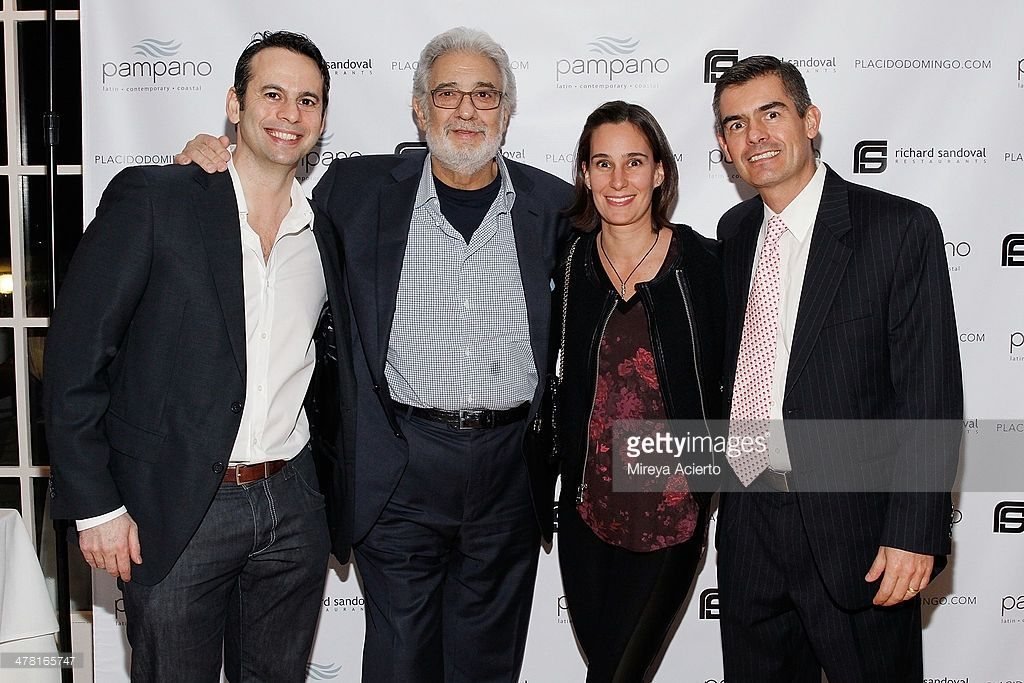 Jose Trusman, Placido Domingo, Adriana Zubikarai and Eliseo Serden attend the Pampano Anniversary at Pampano Restaurant on March 11, 2014 in New York City.