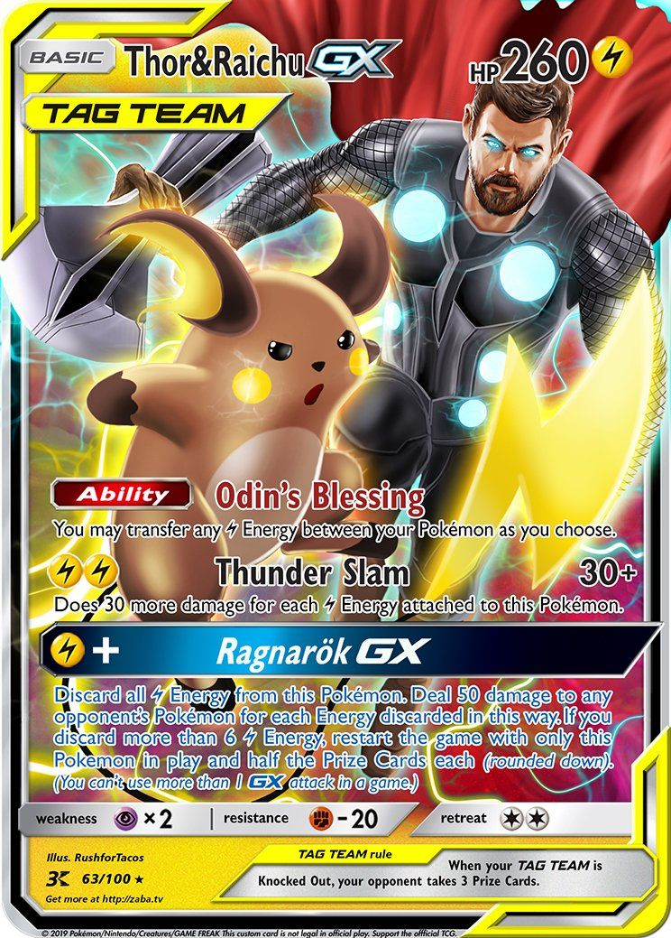 Thor Raichu Gx Custom Pokemon Card Cards De Pokemon Pokemon Y