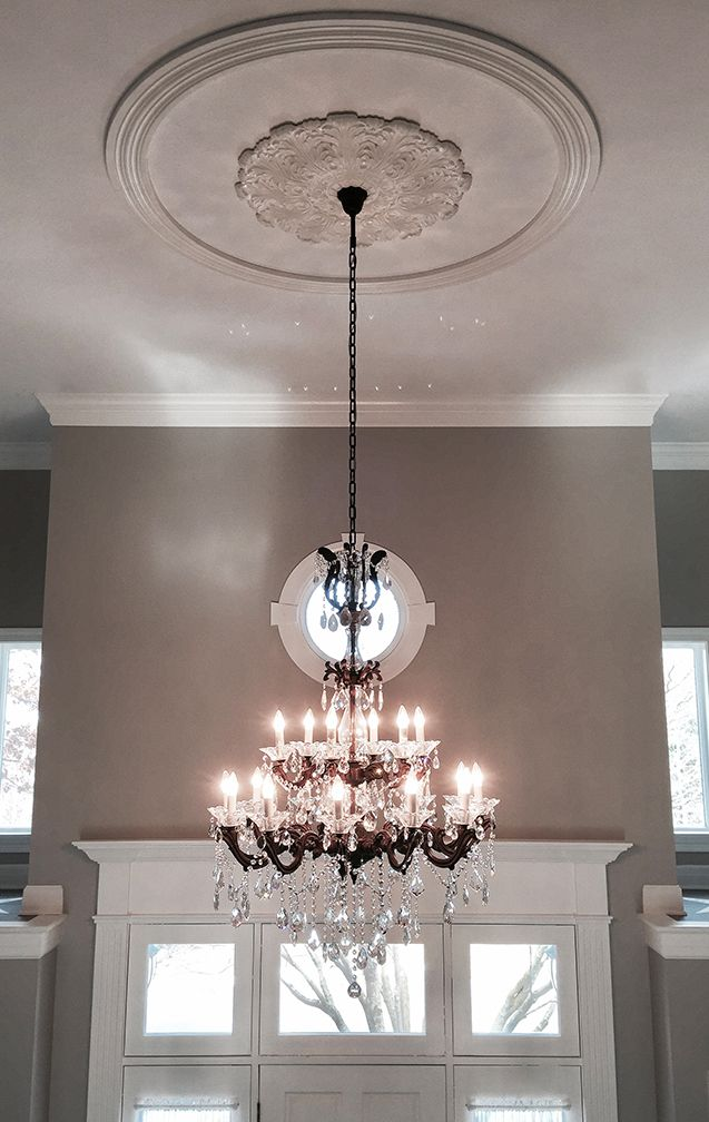Bronze Crystal Chandelier With White Ceiling Medallion And Gray