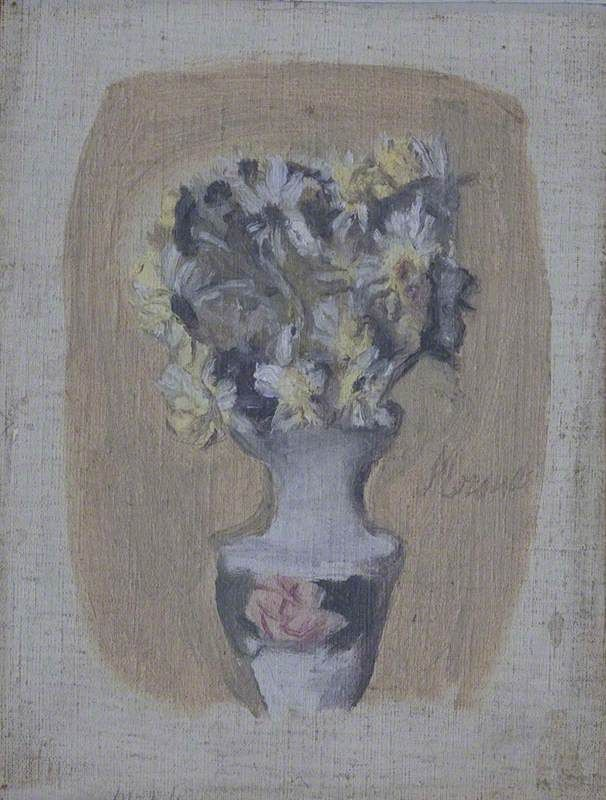 giorgio morandi(1890–1964), flowers in a vase, 1950. oil on board, 26 x 21 cm. national trust, uk http://www.bbc.co.uk/arts/yourpaintings/paintings/flowers-in-a-vase-220437