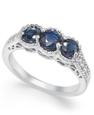 Sapphire (1-1/4 ct. t.w.) and Diamond (1/8 ct. t.w.) 3-Stone Ring in 14k White Gold | macys.com