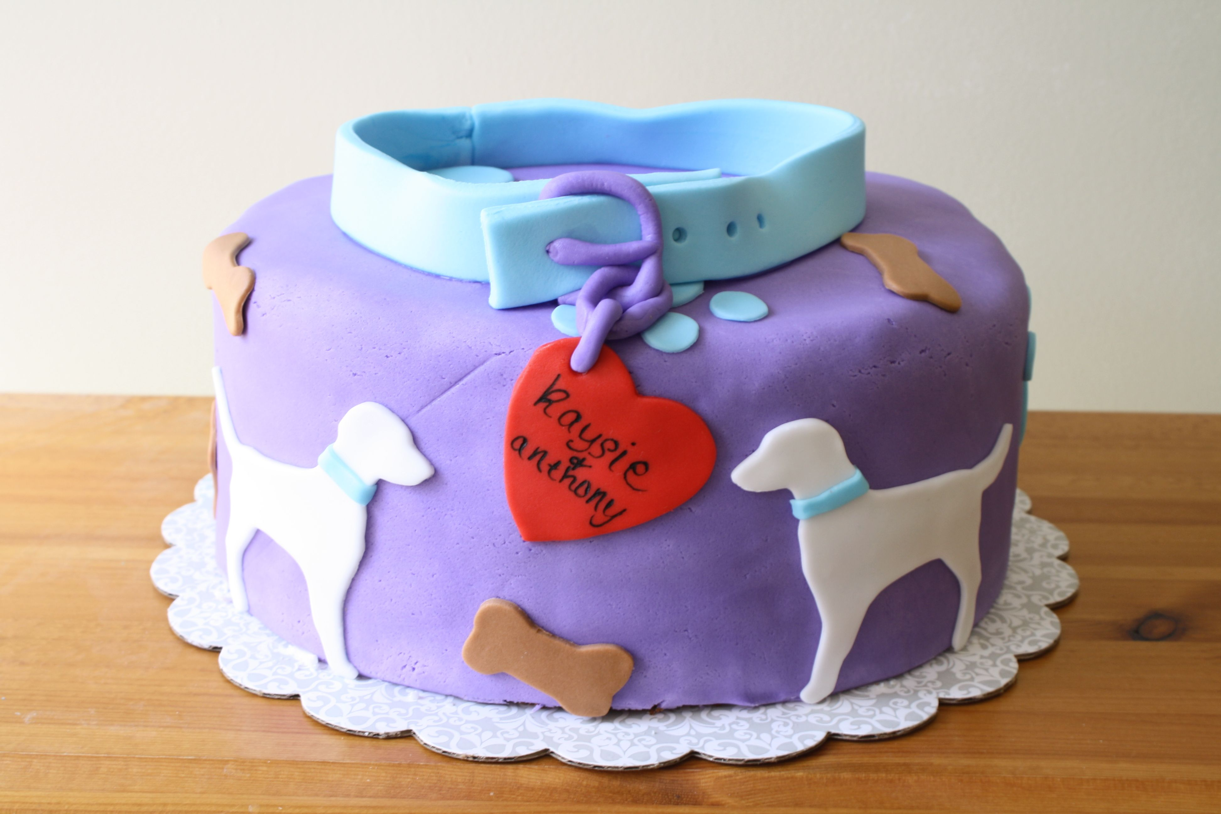 purple themed bridal shower%0A Dog Themed Bridal Shower Cake  The bride was a big dog fan with light blue