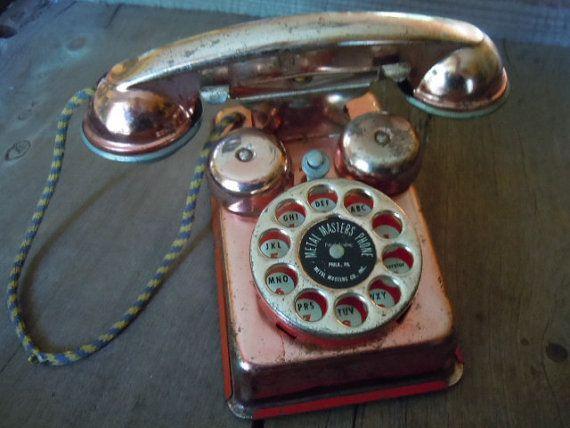 Vintage Tin Toy Phone Rare Copper Finish Metal Rustic Farmhouse Patina Decoration Display Piece by AMarigoldLife