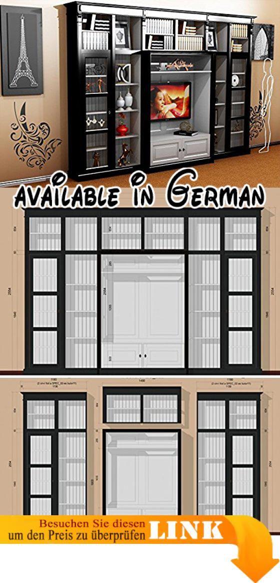 B01IMRMS8Y : Casa Padrino Luxus Wohnzimmer Schrankwand Schwarz / Weiß B 372  X H 255 Cm Bücherregal Regal Schrank Fernseh TV   Art Deco Jugendstil Hu2026 |  ...