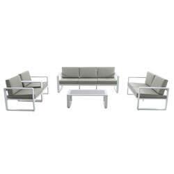 Lounge-Set BONIFACIO aus Metall weiß und taupe - OOGarden