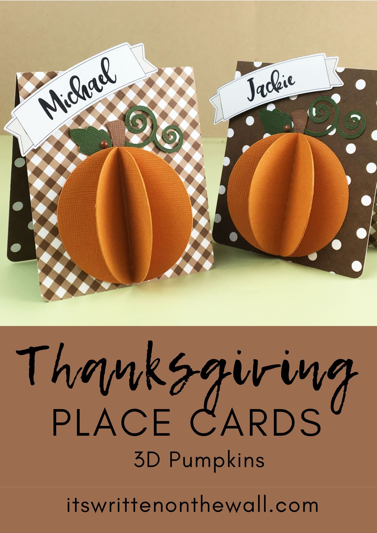 Thanksgiving Personalized Place Cards, 3D Pumpkins