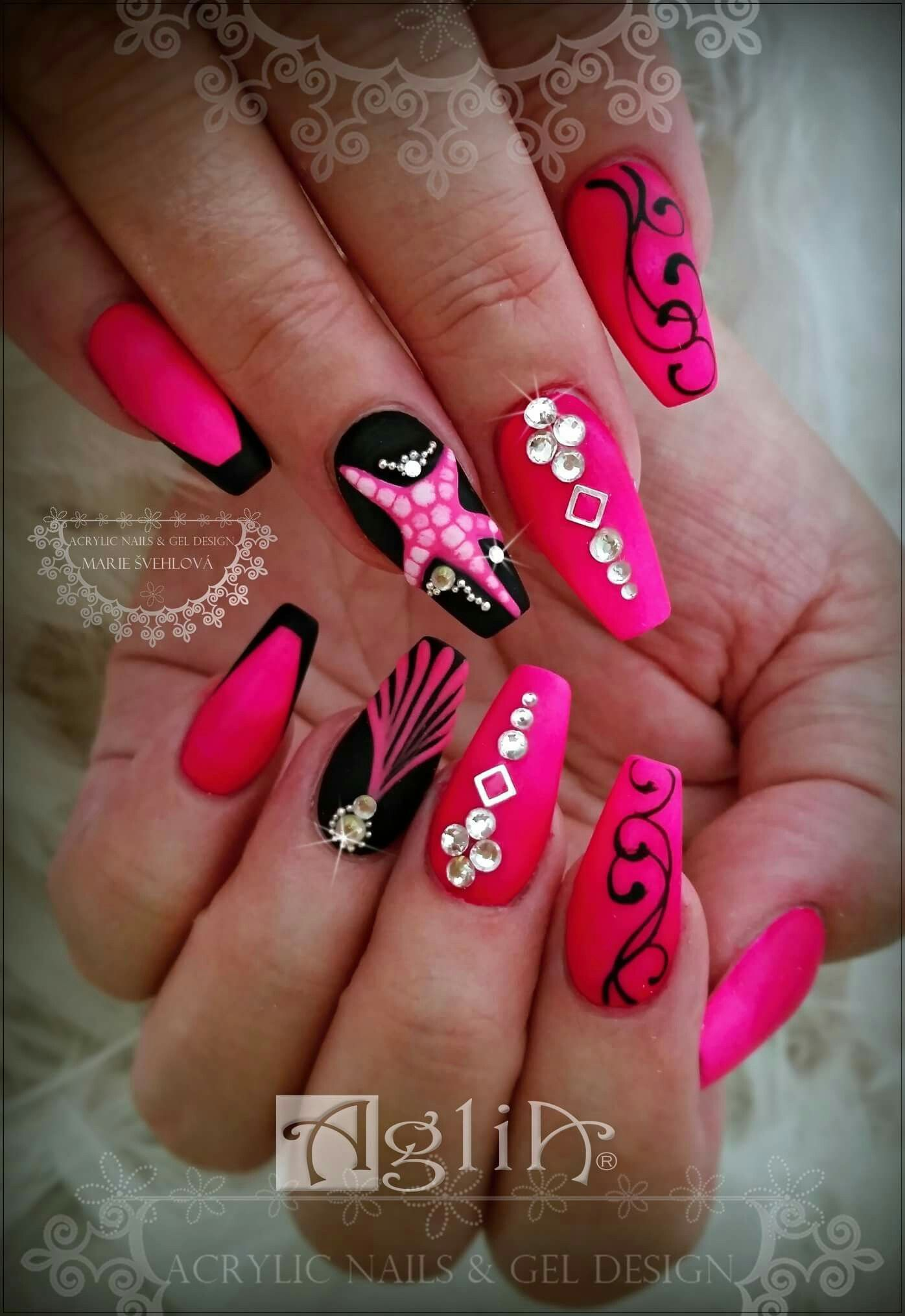 Acrylic Nails Gel Design Neon Pink Nails Summer Nails
