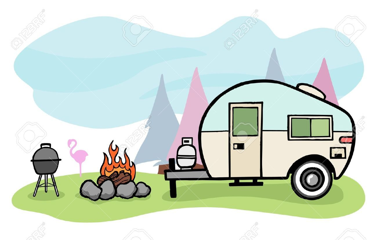 9-Vintage-style-camper-trailer-and-camping-scene-Stock