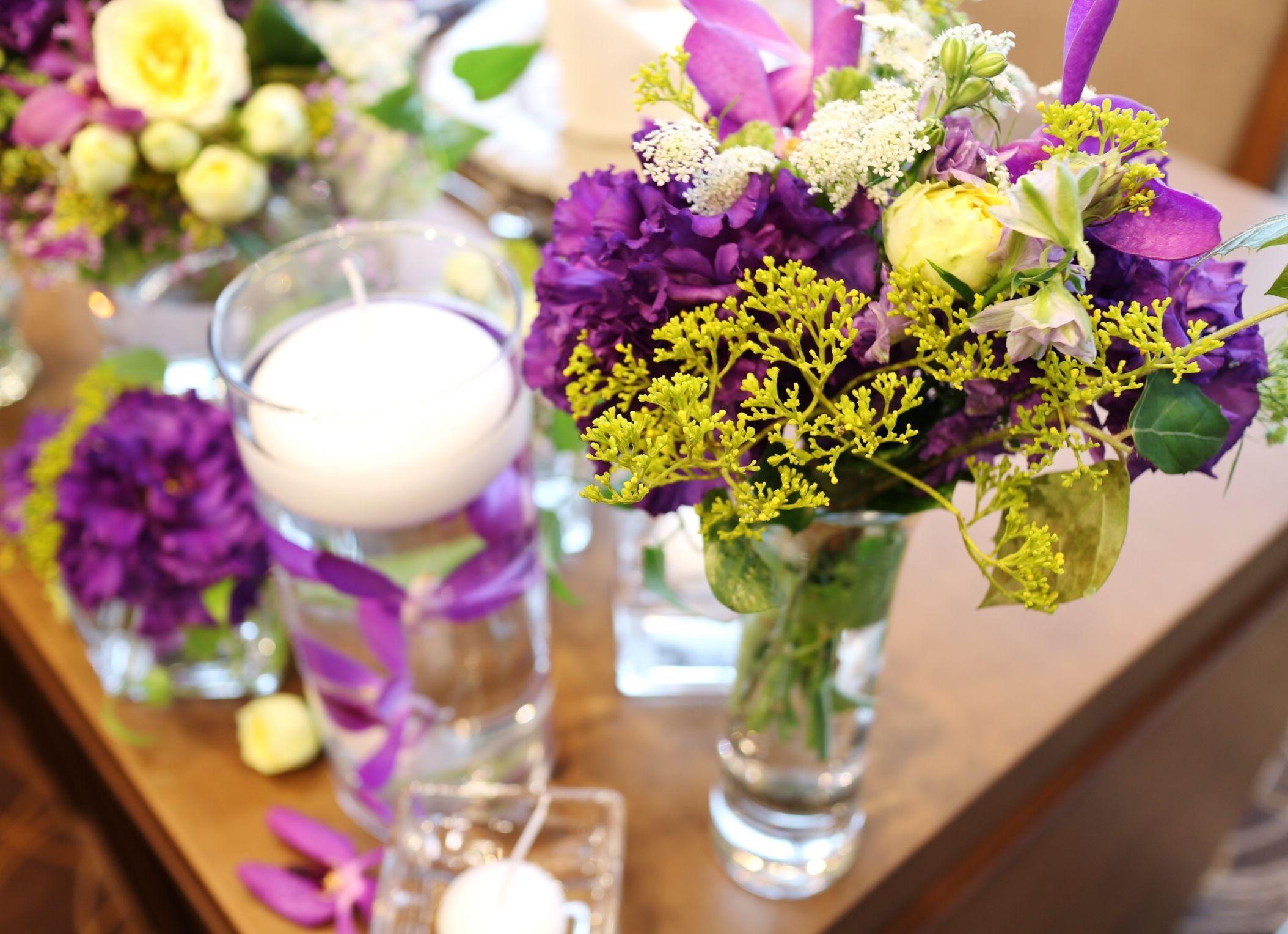 #novarese#vressetrose#koriyamamonolith# wedding #mixcolor #purple #maintable #natural #vintage # Flower # bridal #ノバレーゼ#ブレスエットロゼ#郡山モノリス#ウエディング #ミックスカラー#メインテーブル#ナチュラル#花 #ブライダル#結婚式#ブレスエットロゼ郡山#水中花#パープル#キャンドル
