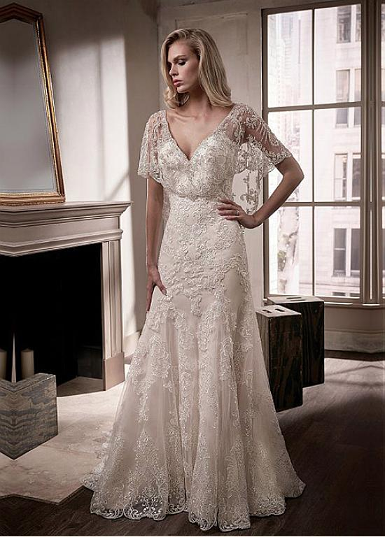 8e9d1f60c7f Buy discount Exquisite Tulle V-neck Neckline Cape-sleeves Sheath Column Wedding  Dress With Lace Appliques   Beaded Embroidery at Ailsabridal.com