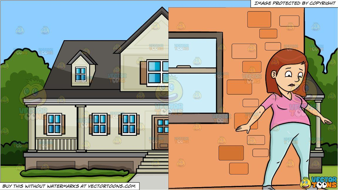 clipart cartoon a female about to jump off the ledge and a house rh pinterest com mx