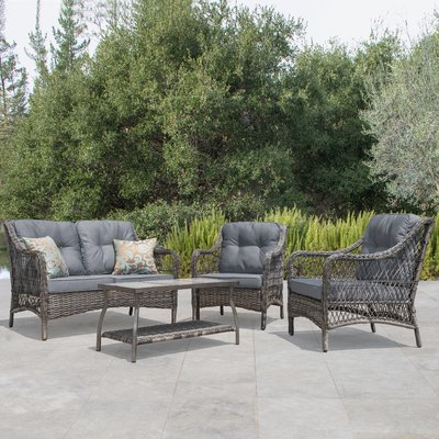 bay isle home pelletier 4 piece rattan sofa seating group with rh pinterest com