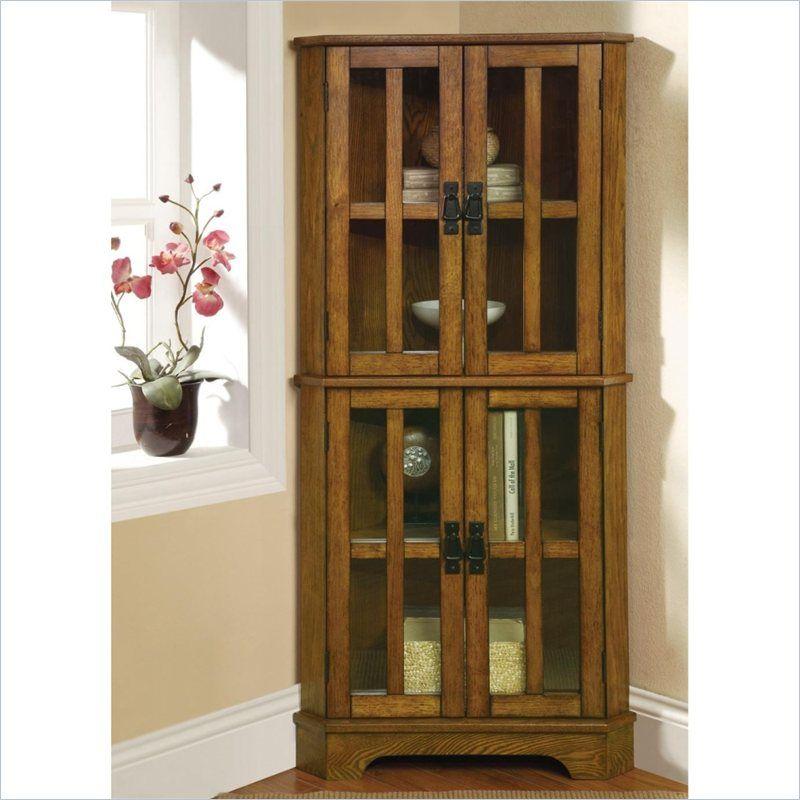 coaster 4 shelf corner curio cabinet in warm brown oak woodwork rh pinterest com