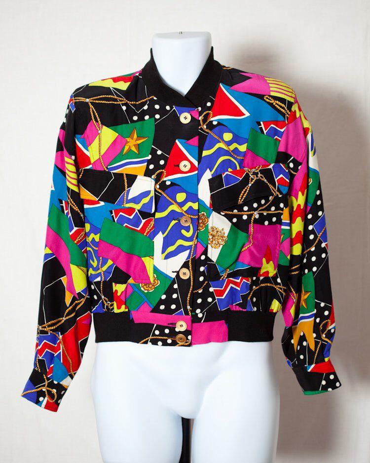 Vintage 80s 90s Colorful Womens Silk Blouse Windbreaker Dana Buchman By Greatwhitevintage On Etsy Https Womens Silk Blouses 90s Fashion Outfits 90s Fashion