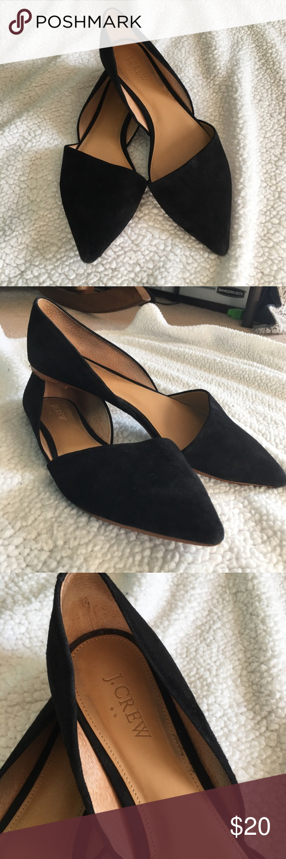 J Crew Factory Black Zoe Suede D Orsay Flats 9 5 Suede Flat Shoes Women Loafer Flats