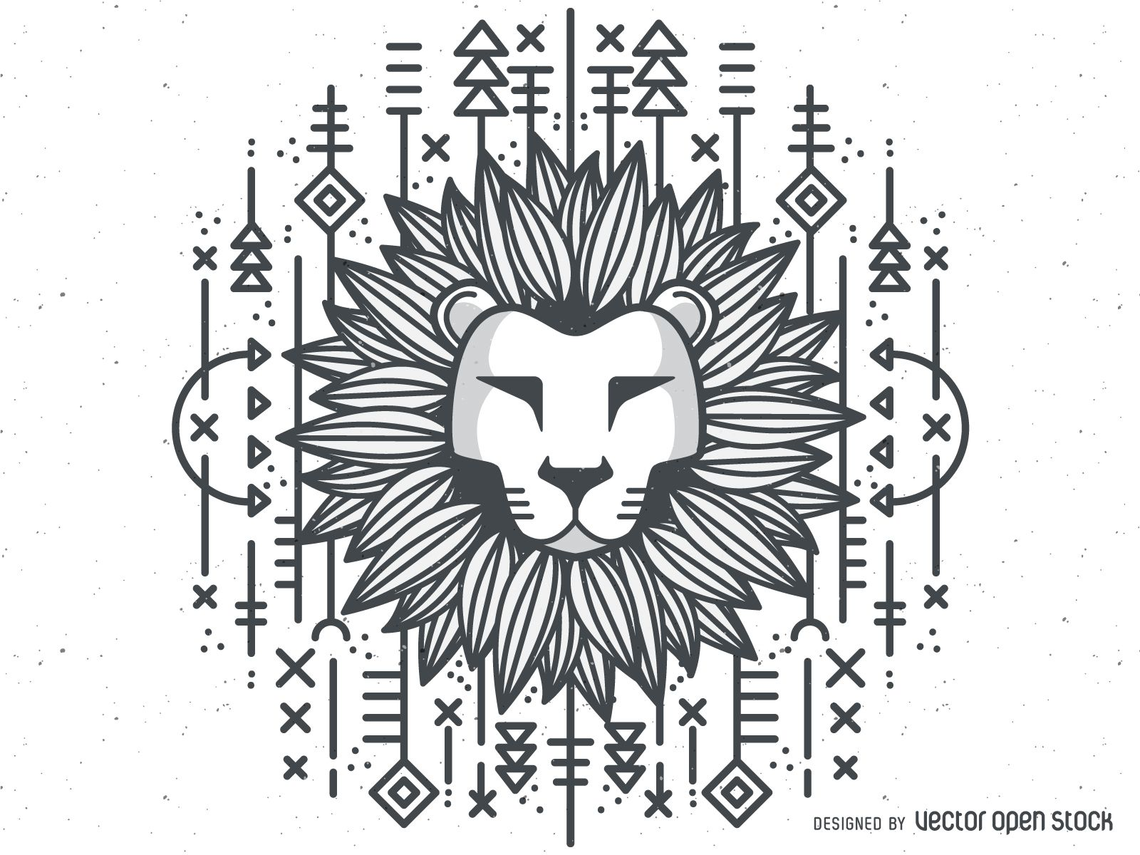 1116ced29ecc2 Lion head illustration in black and white featuring hand drawn lines,  geometric…