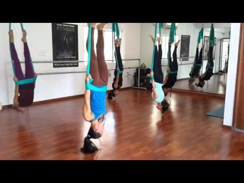 aerial yoga routine in bangalore advanced class session