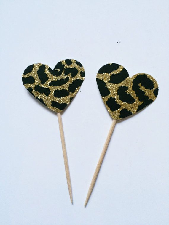 24 Heart Cheetah Print mini Cupcake Toppers  Food by ADreamPaperie