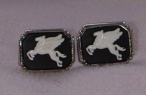 Vintage jewelry cufflinks pegaus silver tone by DevineCollectible