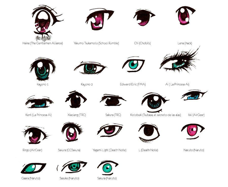 Different manga eye styles by natarya,chan
