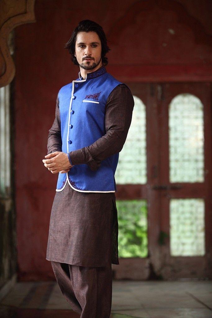 Brown Linen Kurta With Blue Half Jacket Indian Men