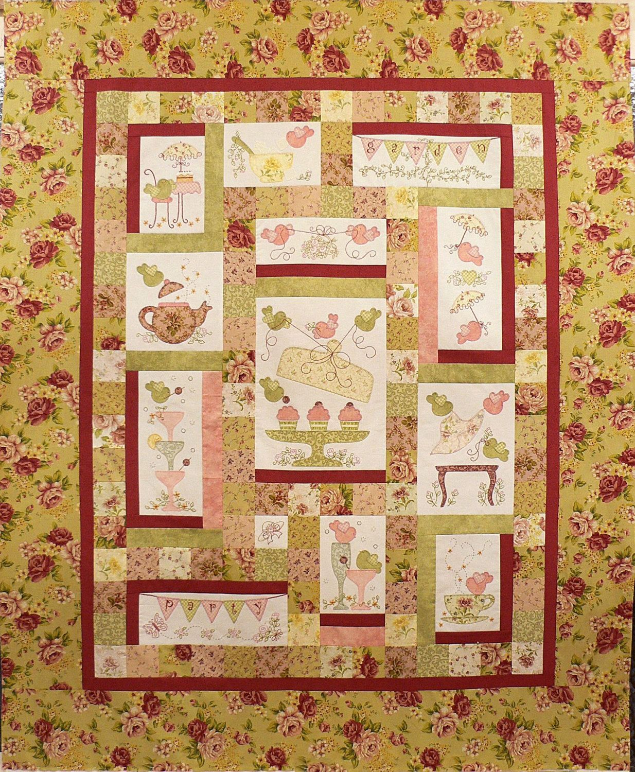 Garden Party Quilt Pattern by Teddlywinks on Etsy | tendidos ... : garden party quilt pattern - Adamdwight.com