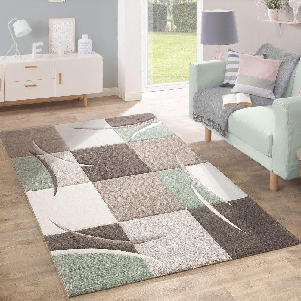 Wunderbar Designer Teppich Modern Konturenschnitt Pastellfarben Mit Karo Muster In Beige  Grün Wohn Und Schlafbereich