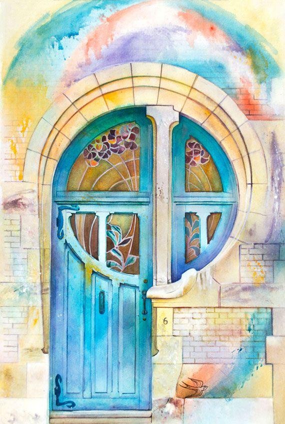 清々しいタッチ 水彩絵具で描かれたヨーロッパの美しいドア ペイン