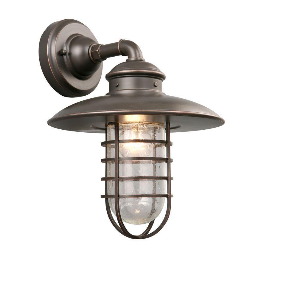 Hampton Bay 1-Light Oil-Rubbed Bronze Outdoor Wall Lantern | Oil ...