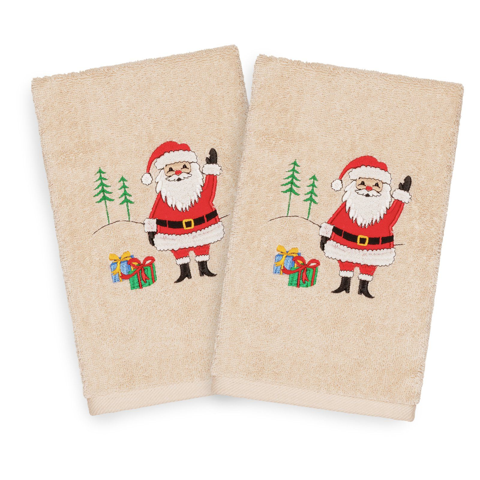Linum Home Textiles Christmas Santa Waving Embroidered Turkish Cotton Hand Towel - Set of 2 Sand #handtowels