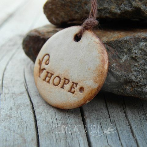 HOPE Ceramic Pendant Handmade Inspirational