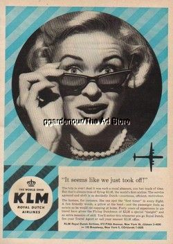 1958 KLM Royal Dutch Airlines Vintage 50's Aviation Ad