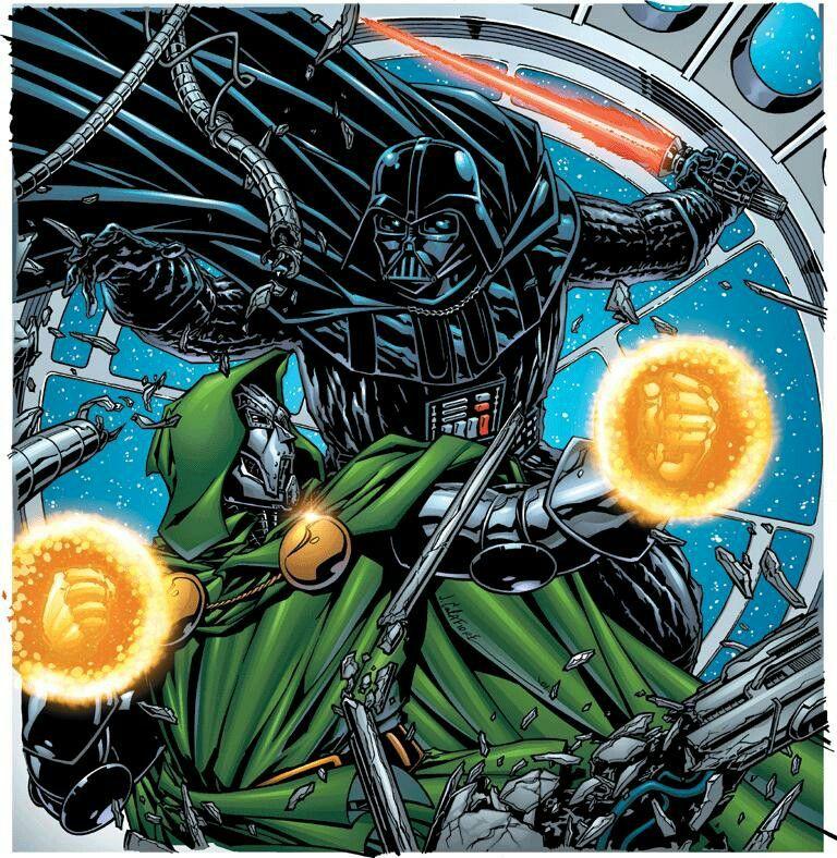 Darth Vader Vs Dr Doom By Jim Calafiore Darth Vader Art Star Wars Wallpaper Marvel Comics Art